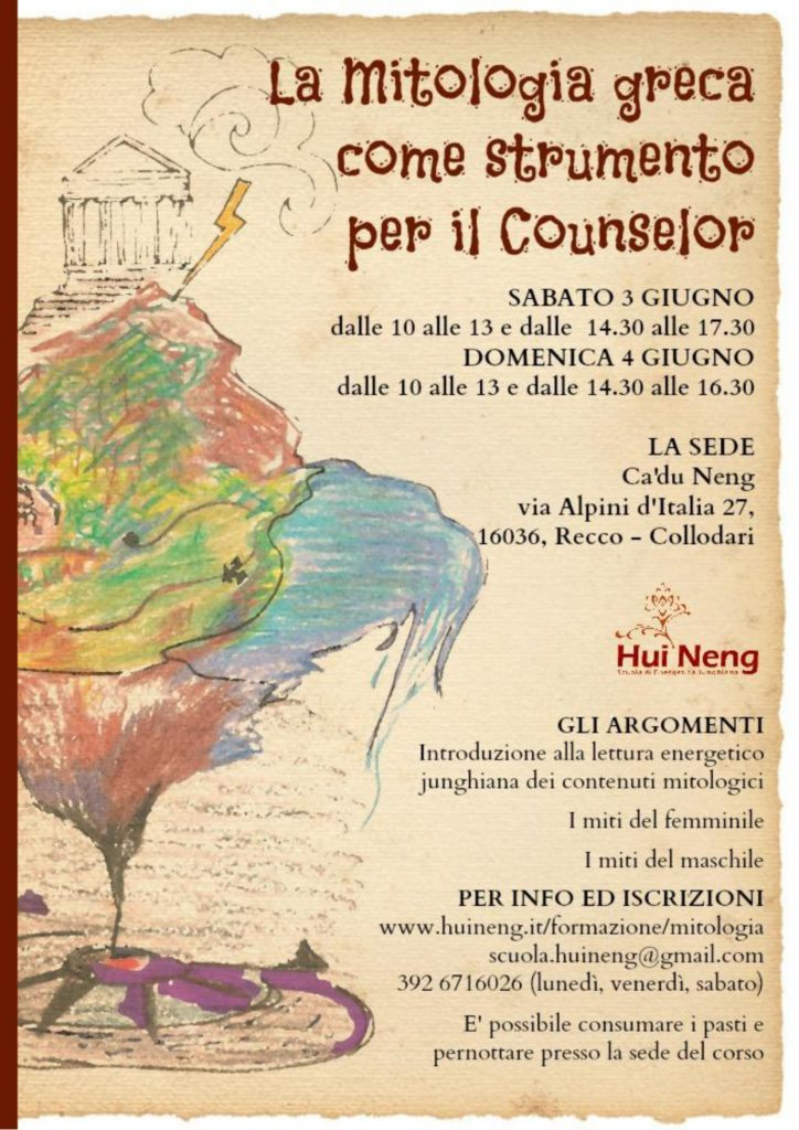 """Recco – Collodari (GE)  3 e 4 giugno 2017 – Seminario """"La Mitologia greca come strumento per il Counselor"""" – Hui Neng  Scuola di Energetica Junghiana"""