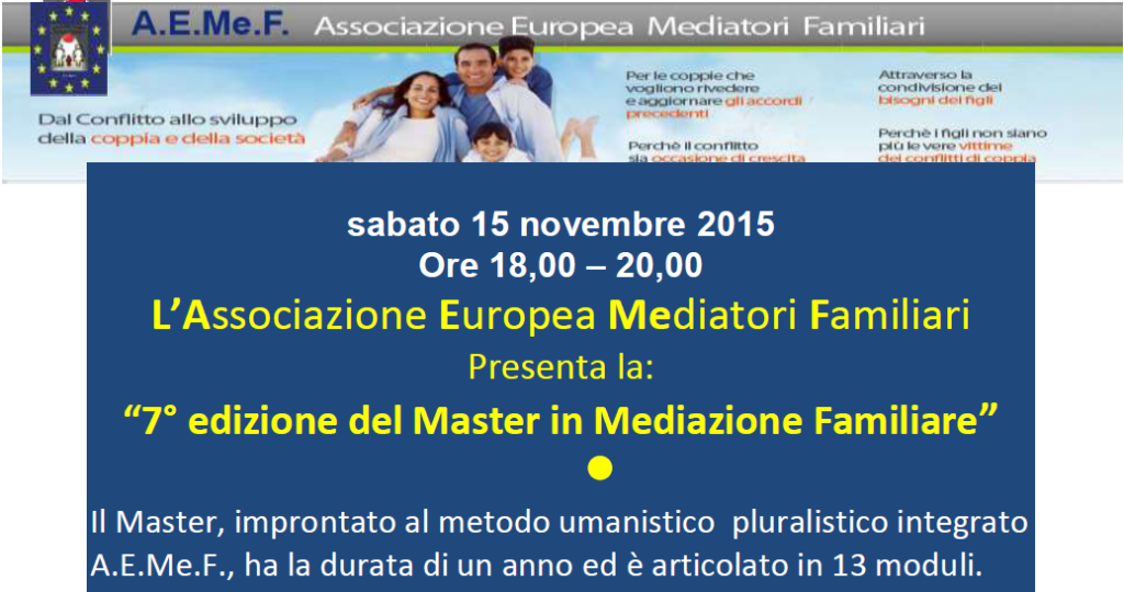 """15 novembre 2014 – """" 7° Edizione del Master in Mediazione Familiare """""""