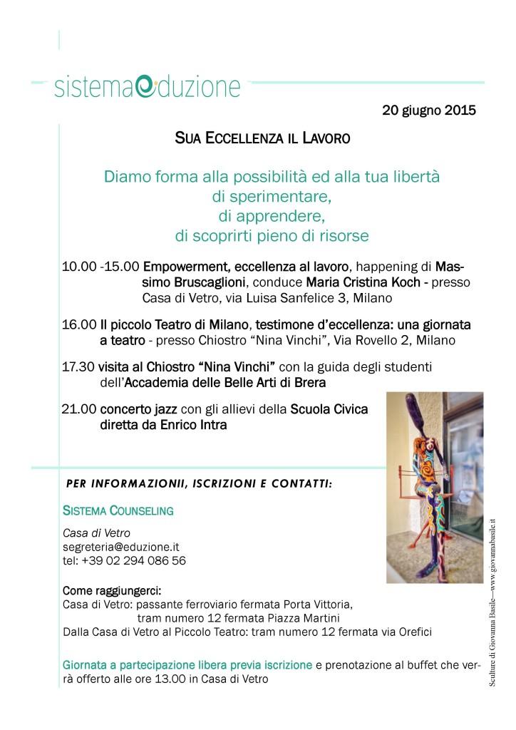 """MILANO – 20 giugno 2015  – """"SUA ECCELLENZA IL LAVORO"""" – SISTEMA COUNSELING"""