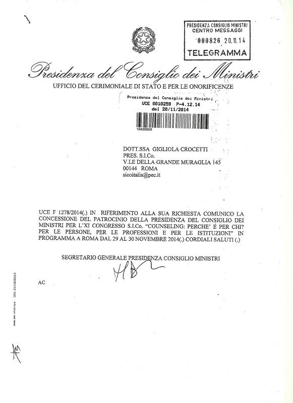 Patrocinio della Presidenza del Consiglio dei Ministri