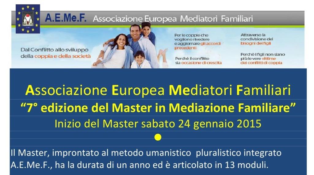 """24 gennaio 2015 – """" 7° Edizione del Master in Mediazione Familiare """""""