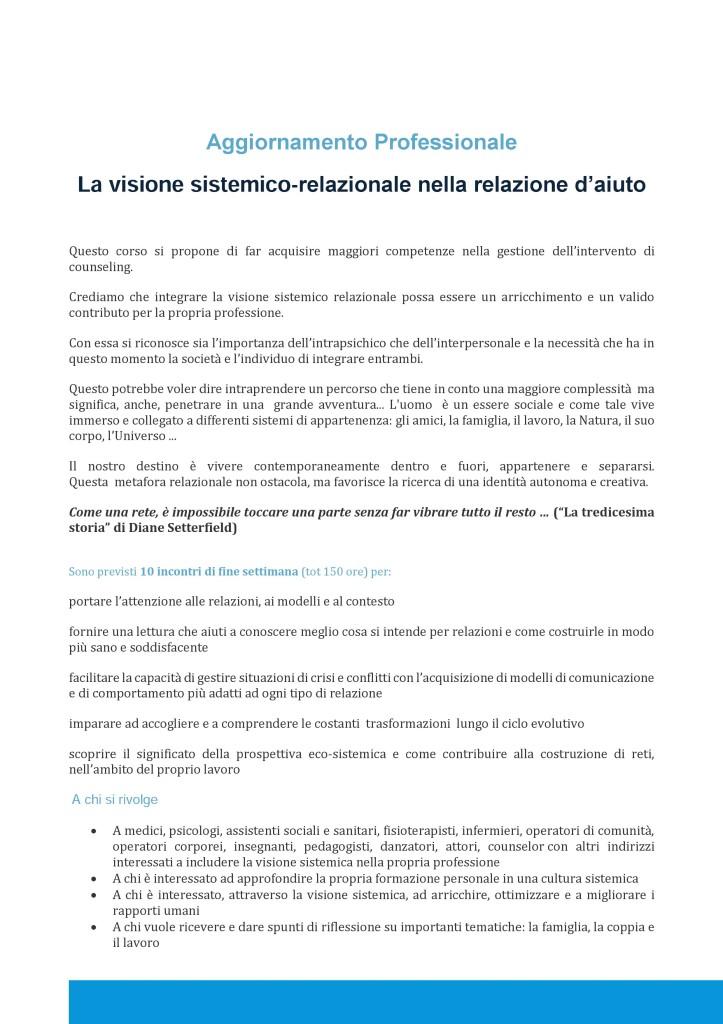 """NAPOLI – Dal 26 settembre 2015 – AGGIORNAMENTO PROFESSIONALE: """"La visione sistemico-relazionale nella relazione d'aiuto"""" – MARIANNA DRAGONETTI – MARIA CLOTILDE ROBUSTELLI"""