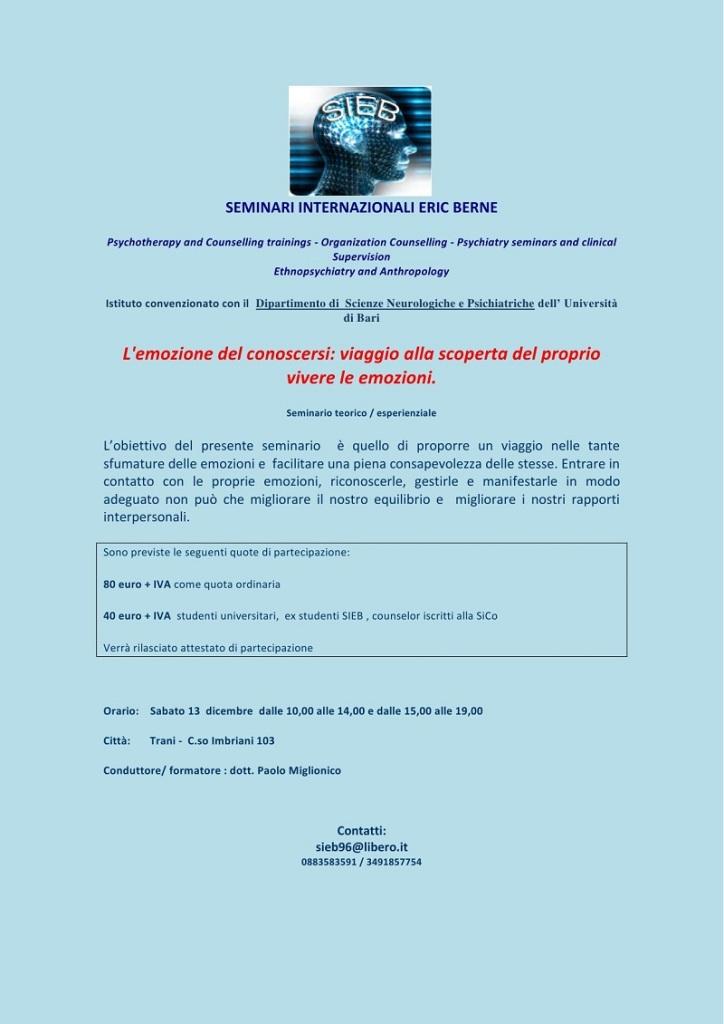 """13 dicembre 2014 – Seminario """" L'EMOZIONE DEL CONOSCERSI: VIAGGIO ALLA SCOPERTA DEL PROPRIO VIVERE LE EMOZIONI """""""