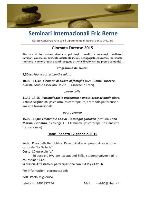 17 gennaio 2015 –  GIORNATA FORENSE 2015 – Seminari Internazionali Eric Berne