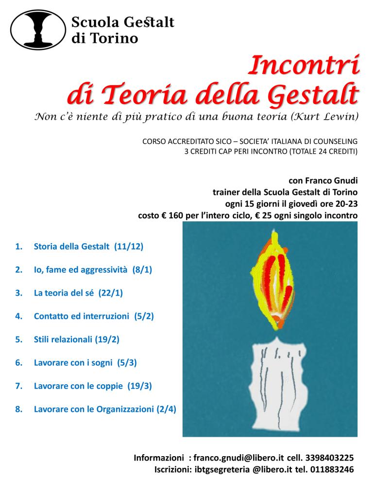 """Dal 22 gennaio 2015 """" Incontri di Teoria della Gestalt """" – Scuola Gelstalt di Torino"""