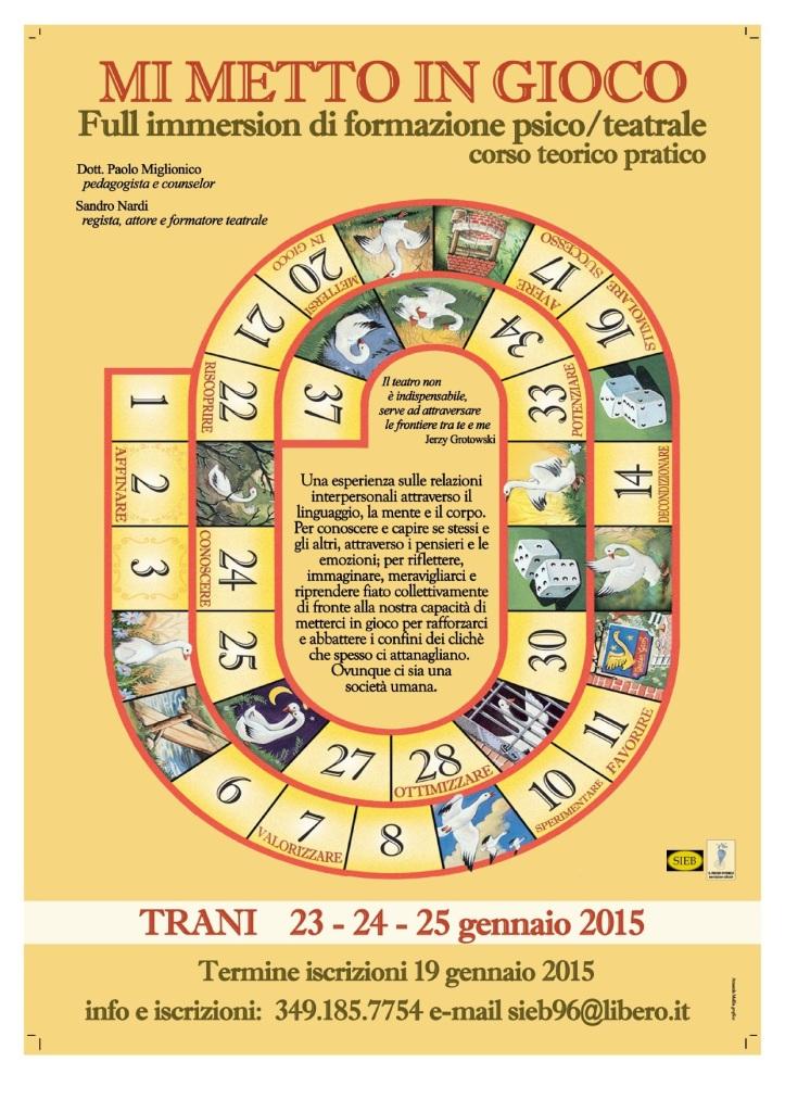 """23 – 24 – 25 Gennaio 2015 – """"MI METTO IN GIOCO""""  Full immersion di formazione psico/teatrale"""