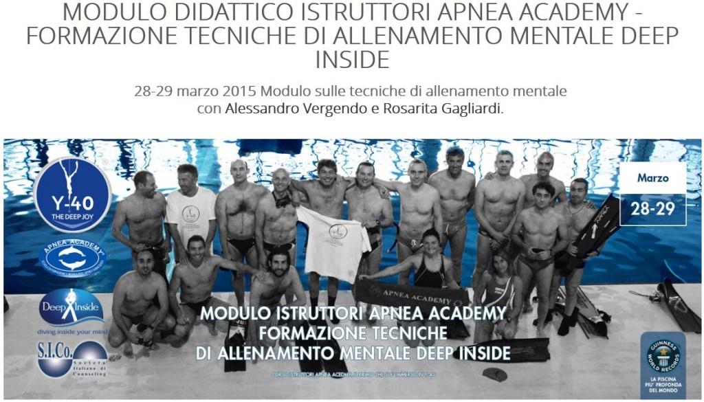 28 e 29 Marzo 2015 – Modulo didattico Apnea Academy – Formazione Tecniche di allenamento mentale Deep Inside – Alessandro Vergendo