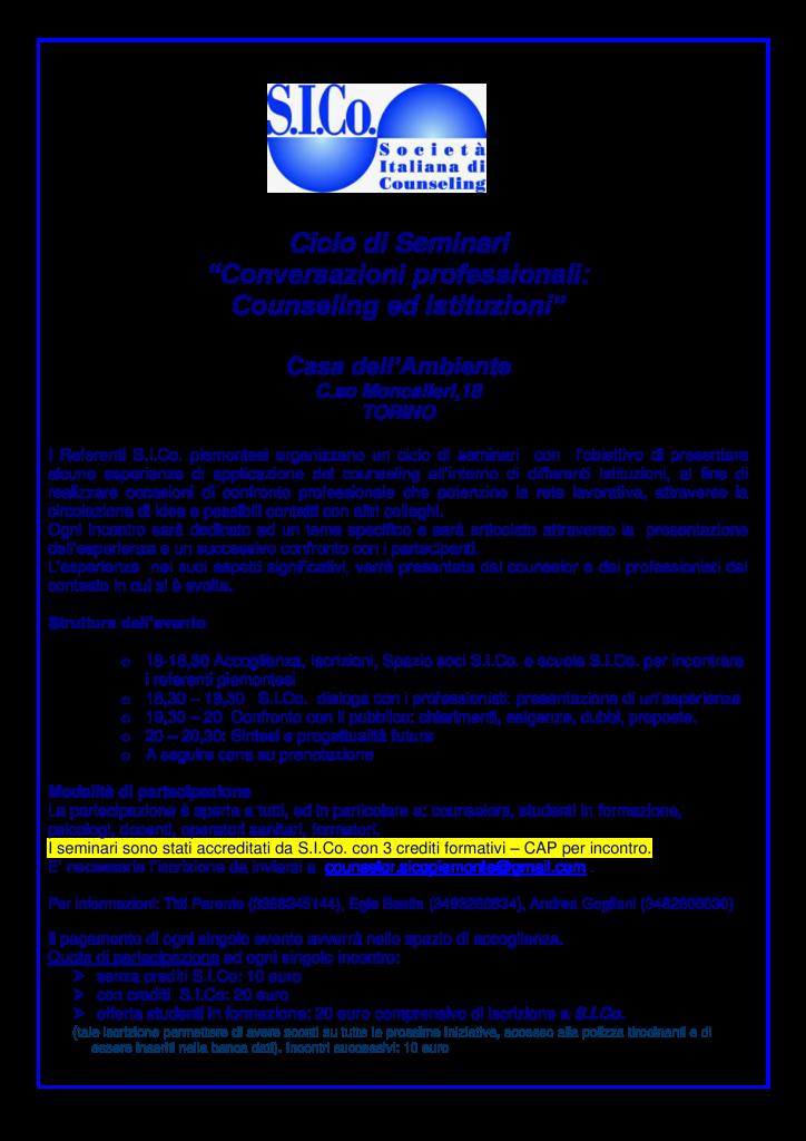 """Dal 27 aprile 2015 – Referenti S.I.Co. Piemonte – Ciclo di Seminari """"Conversazioni professionali: Counseling ed Istituzioni"""""""