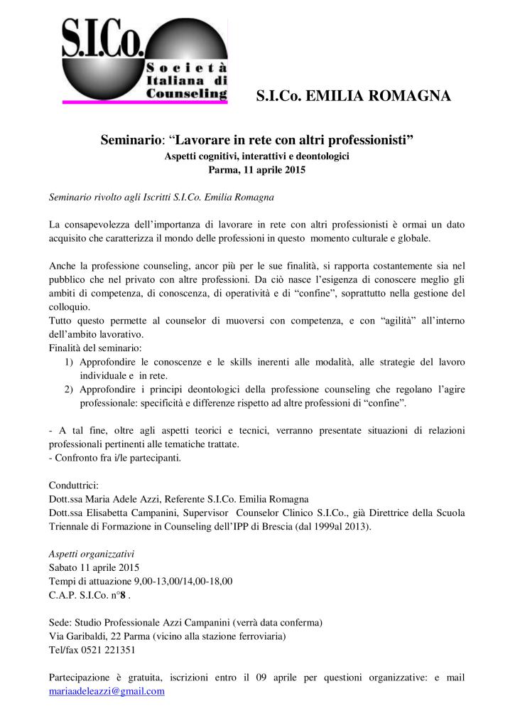 """Parma, 11 aprile 2015 – Seminario S.I.Co. Emilia Romagna  """"Lavorare in rete con altri professionisti"""""""