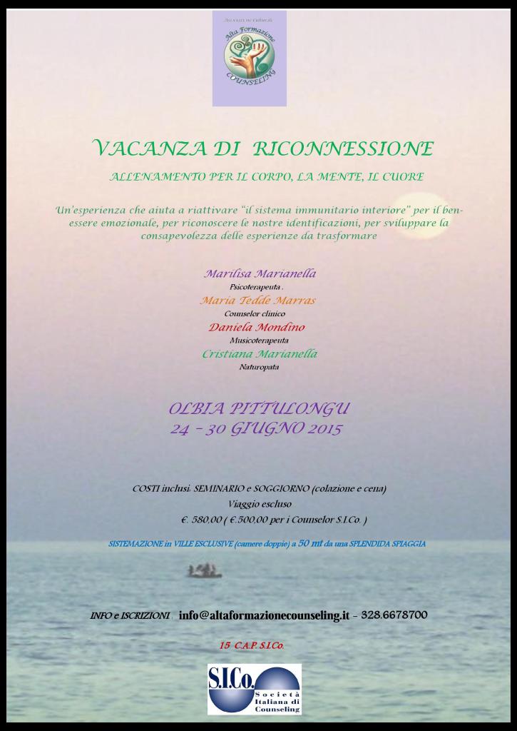 """OLBIA PITTULONGU – Dal 24 al 30 giugno 2015 – Seminario """"VACANZA DI RICONNESSIONE"""" – ALTA FORMAZIONE COUNSELING"""