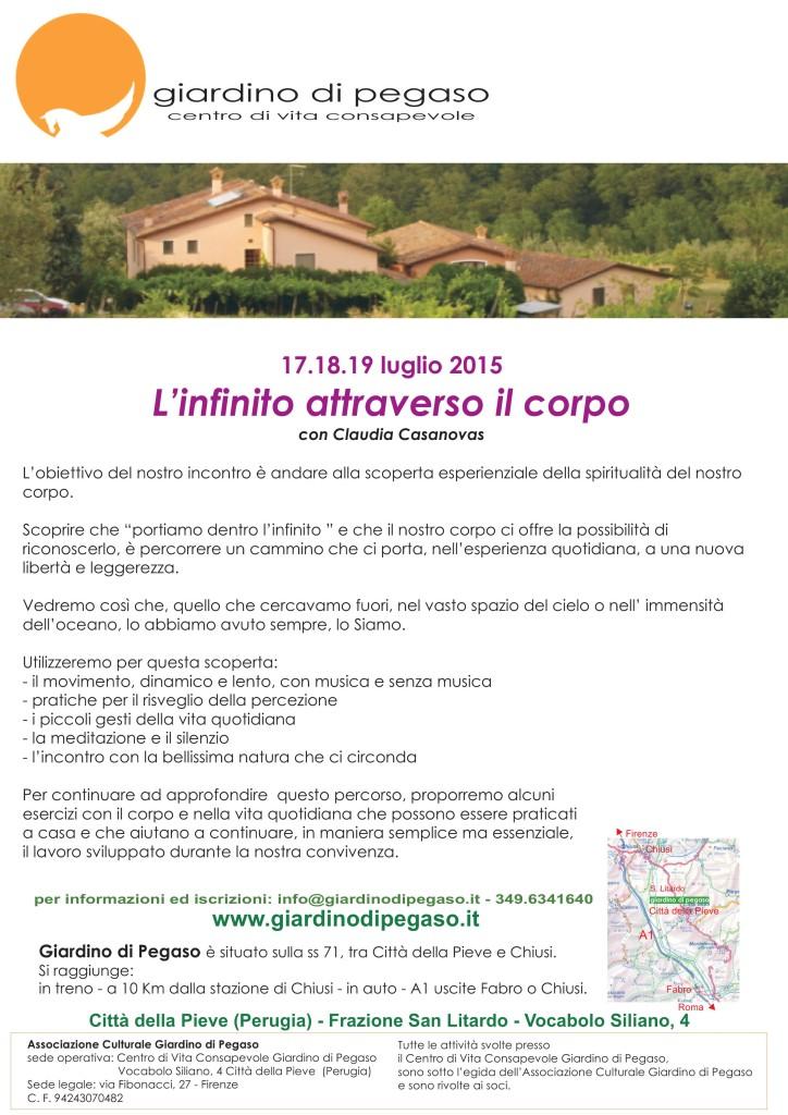 Città della Pieve  17-18-19 luglio 2015 – SEMINARIO: L'INFINITO ATTRAVERSO IL CORPO – CLAUDIA CASANOVAS