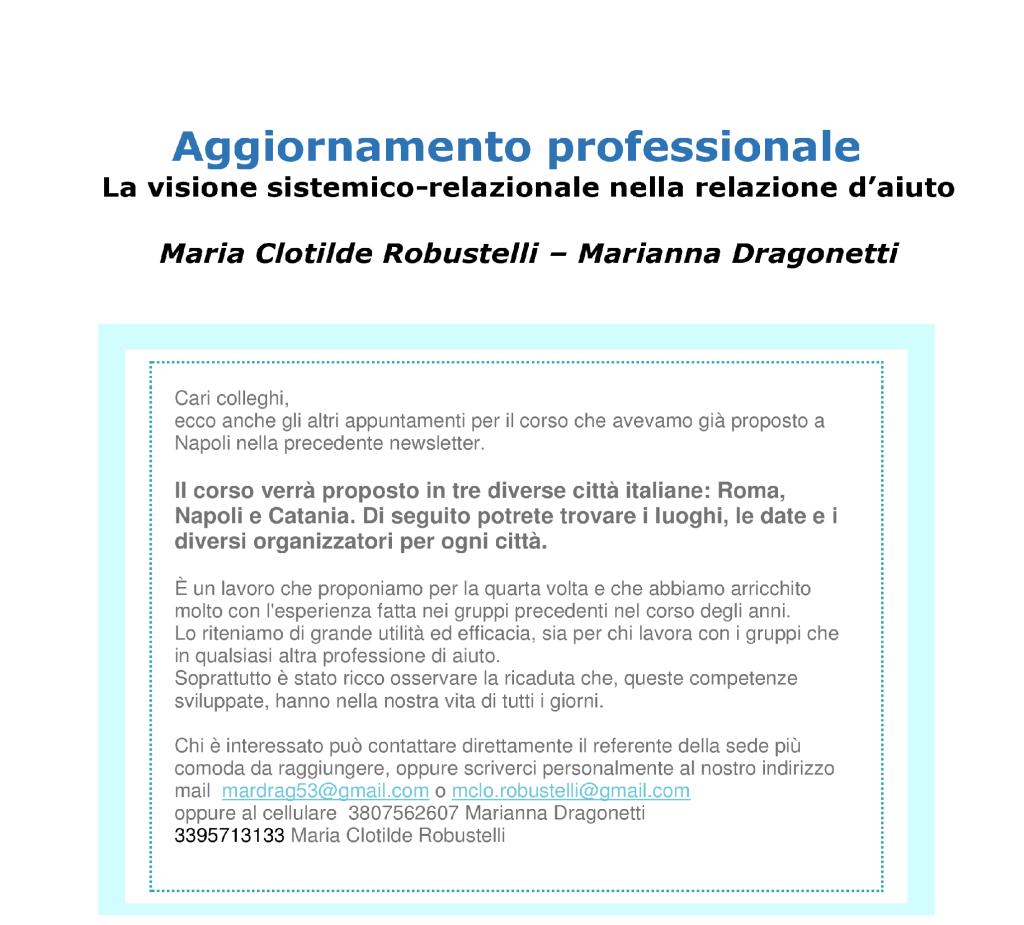 """NAPOLI – ROMA – CATANIA  Dal 07 novembre 2015 – Aggiornamento Professionale """"LA VISIONE SISTEMICO-RELAZIONALE NELLA RELAZIONE D'AIUTO"""" – Maria Clotilde Robustelli, Marianna Dragonetti"""