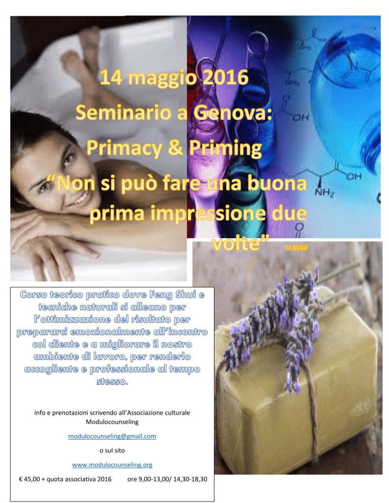 """GENOVA – 14 maggio 2016 – Seminario: L'effetto """"Primacy"""" e l'effetto """"Priming"""" nel colloquio di counseling – Associazione Culturale Modulocounseling"""