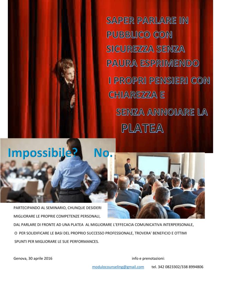 """GENOVA –  30 aprile 2016 –  Seminario: Migliorare il nostro """"public speaking"""": nel counseling e nella vita non c'è solo l'ascolto – Associazione Culturale Modulocounseling"""