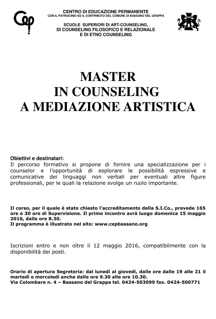 BASSANO DEL GRAPPA (VI) – 15 maggio 2016 – MASTER IN COUNSELING A MEDIAZIONE ARTISTICA – CEP Centro di Educazione Permanente