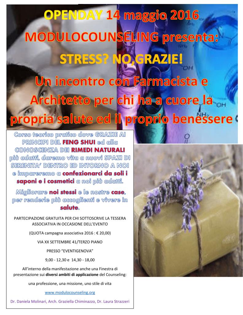 GENOVA – OPENDAY  14 maggio 2016 – MODULOCOUNSELING presenta:  STRESS?  NO, GRAZIE!