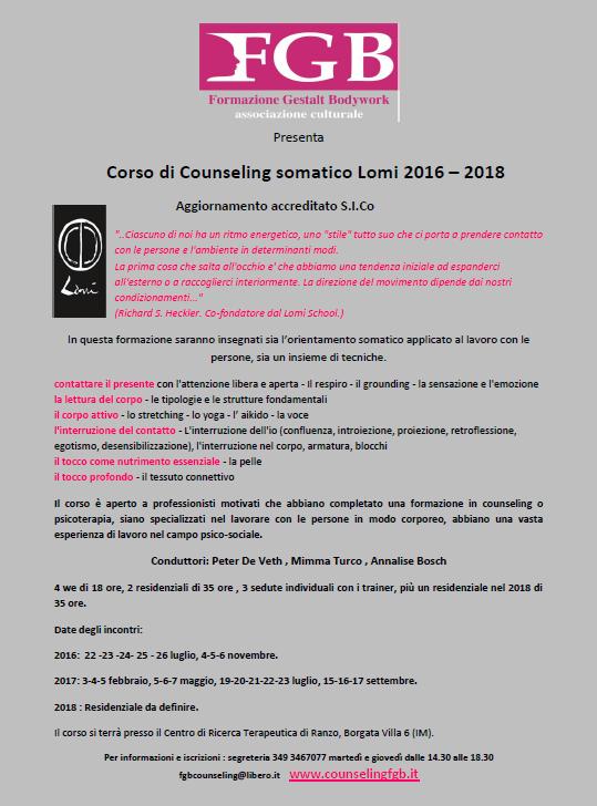 RANZO (IM) – Dal 22 luglio 2016 – Corso di Counseling somatico Lomi 2016 – 2018 * FGB Formazione Gestalt Bodywork