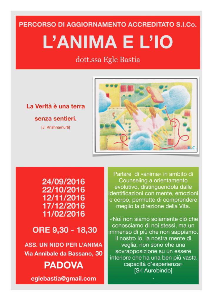 PADOVA – Dal 24 settembre 2016 – Percorso di Aggiornamento:  L'ANIMA E L'IO  – Egle Bastia