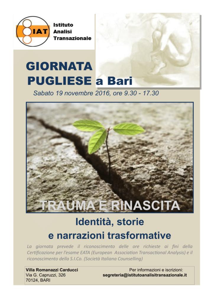 BARI – 19 novembre 2016 – TRAUMA E RINASCITA: Identità, storie e narrazioni trasformative – Giornata di formazione IAT – Seminari Internazionali Eric Berne