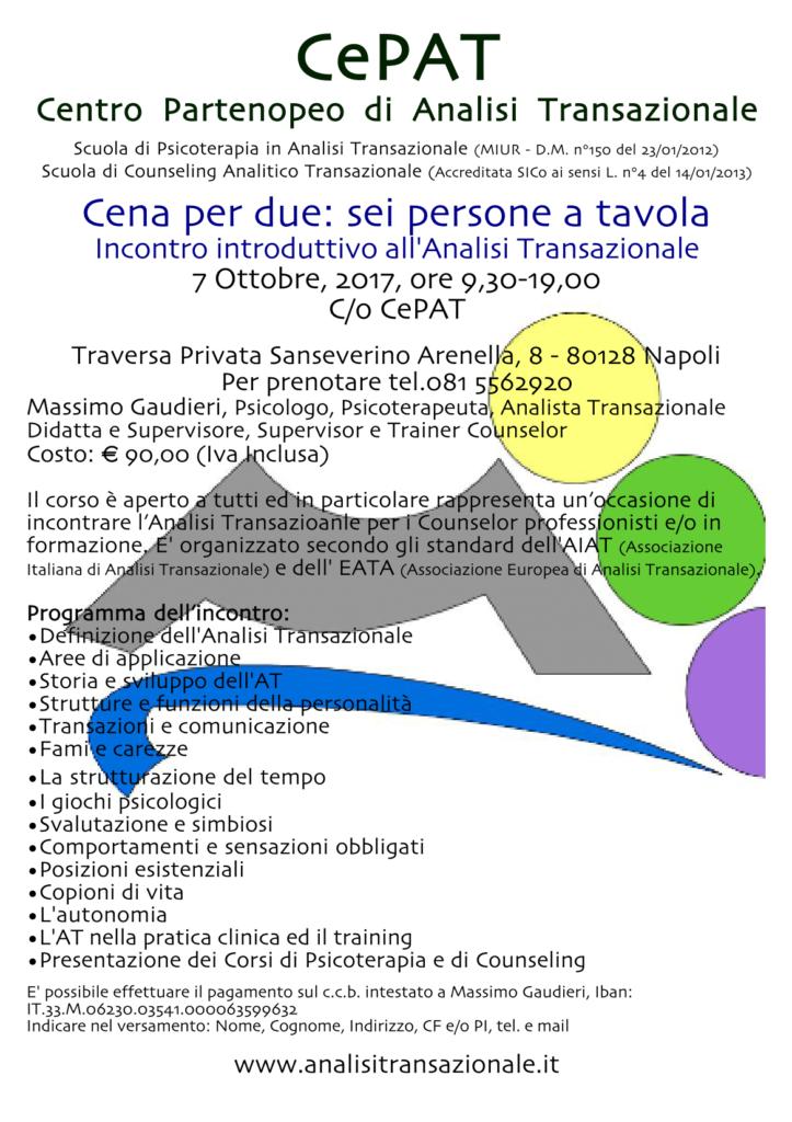 """NAPOLI  07 Ottobre 2017 – """"Cena per due: sei persone a tavola"""" – CePAT  Centro Partenopeo di Analisi Transazionale"""