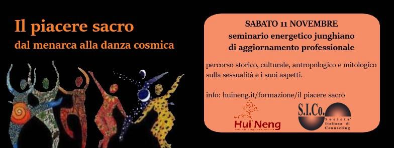 """RECCO (GE)  11 Novembre 2017 – Seminario """"Il piacere sacro: dal menarca alla danza cosmica"""" – Scuola di Energetica Junghiana Hui Neng"""