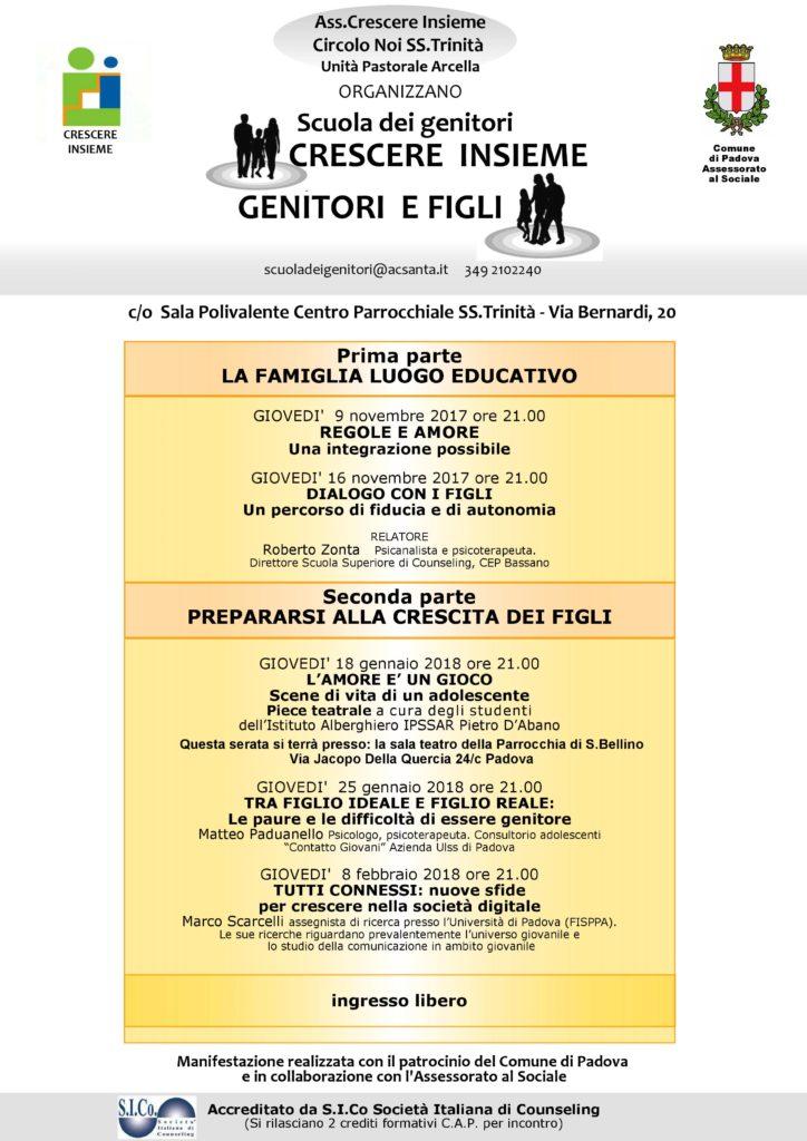 PADOVA (PD) – Dal 09 Novembre 2017 – Scuola dei genitori: CRESCERE INSIEME GENITORI E FIGLI – Anna Mason e Emanuela Schievano