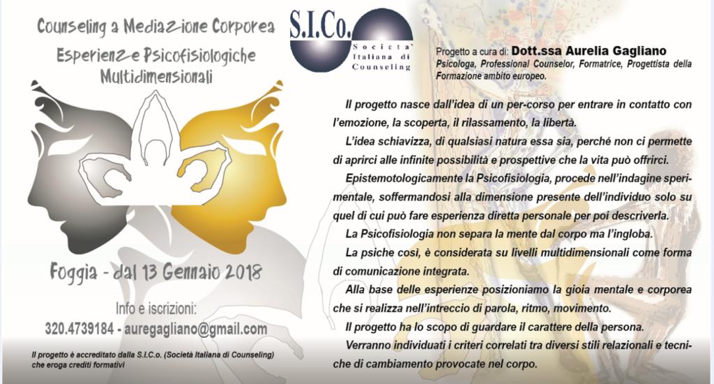 FOGGIA – dal 13 Gennaio 2018 – COUNSELING  A  MEDIAZIONE CORPOREA – Esperienze Psicofisiologiche Multidimensionali – Aurelia Gagliano