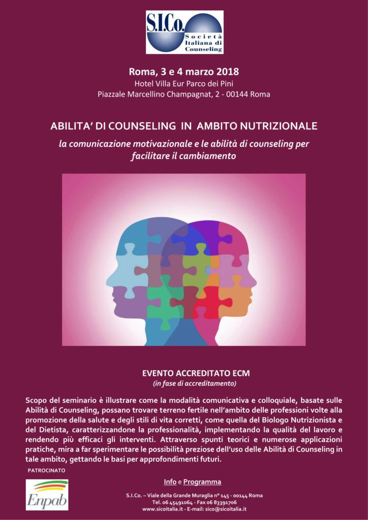 """ROMA –  03 e 04 Marzo 2018 – Seminario """" Abilità di Counseling in Ambito Nutrizionale """" – S.I.Co.  Società Italiana di Counseling"""