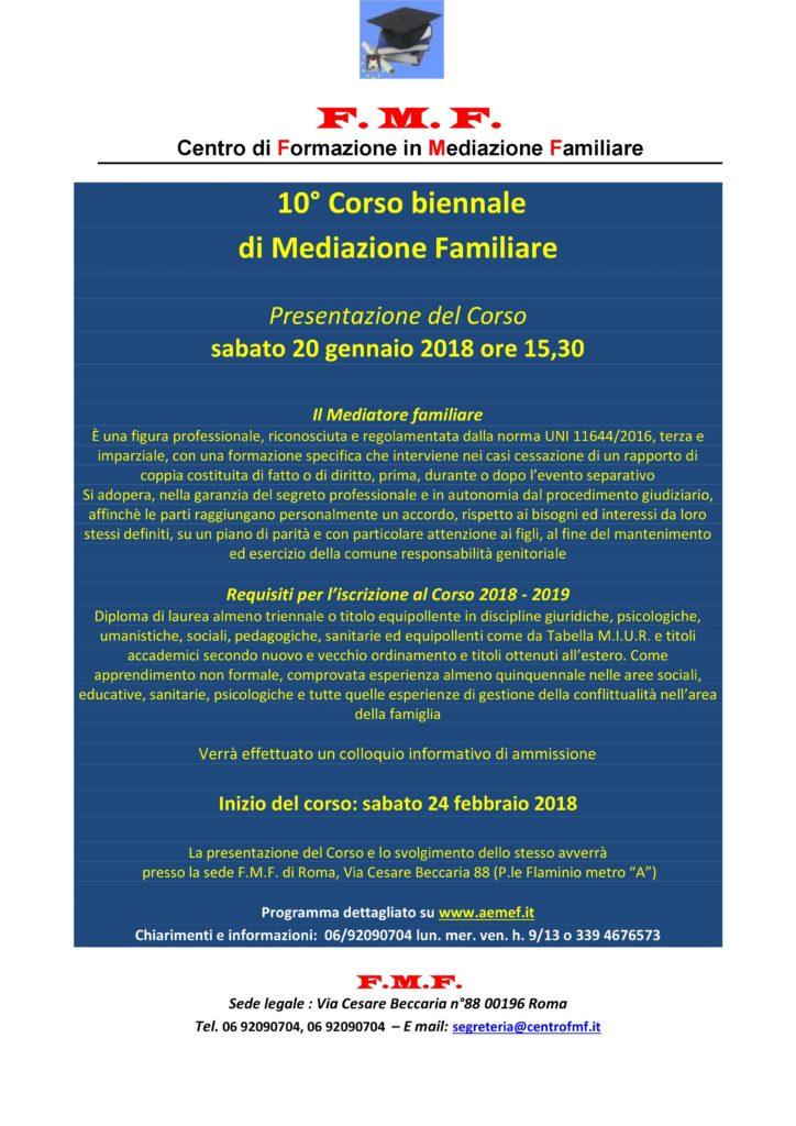 ROMA –  Dal 20 gennaio 2018 – 10° Corso biennale di Mediazione Familiare – F.M.F