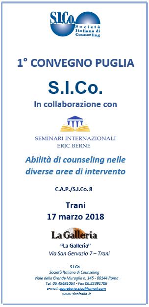 TRANI –  17 marzo 2018 – 1° CONVEGNO S.I.Co. PUGLIA in collaborazione con SIEB SEMINARI INTERNAZIONALI ERIC BERNE
