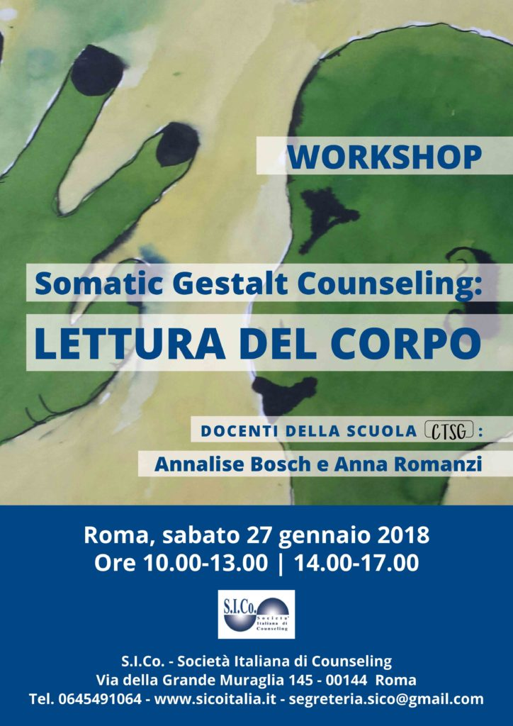 ROMA  27 gennaio 2018 – Somatic Gestalt Counseling: LETTURA DEL CORPO – Workshop condotto da Annalise Bosch e Anna Romanzi
