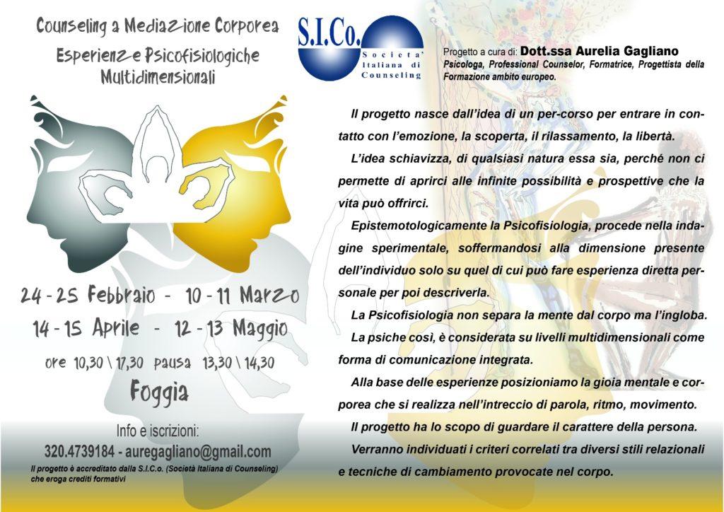 FOGGIA – dal 24 febbraio 2018 – COUNSELING  A  MEDIAZIONE CORPOREA – Esperienze Psicofisiologiche Multidimensionali – Aurelia Gagliano