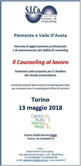 """TORINO 13 Maggio 2018 – Seminario S.I.Co. Piemonte e Valle d'Aosta """"IL COUNSELING AL LAVORO"""""""