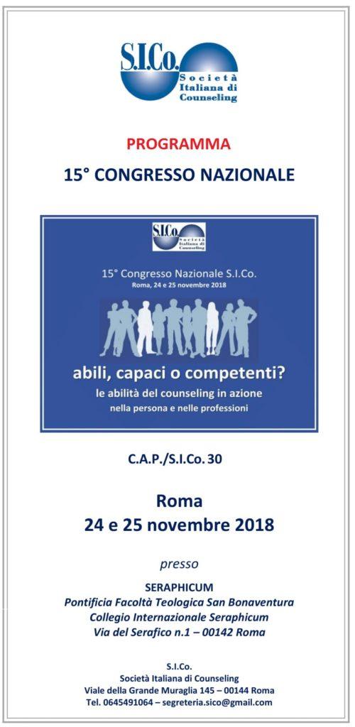 PROGRAMMA -15° Congresso Nazionale S.I.Co. – Roma 24 e 25 novembre 2018