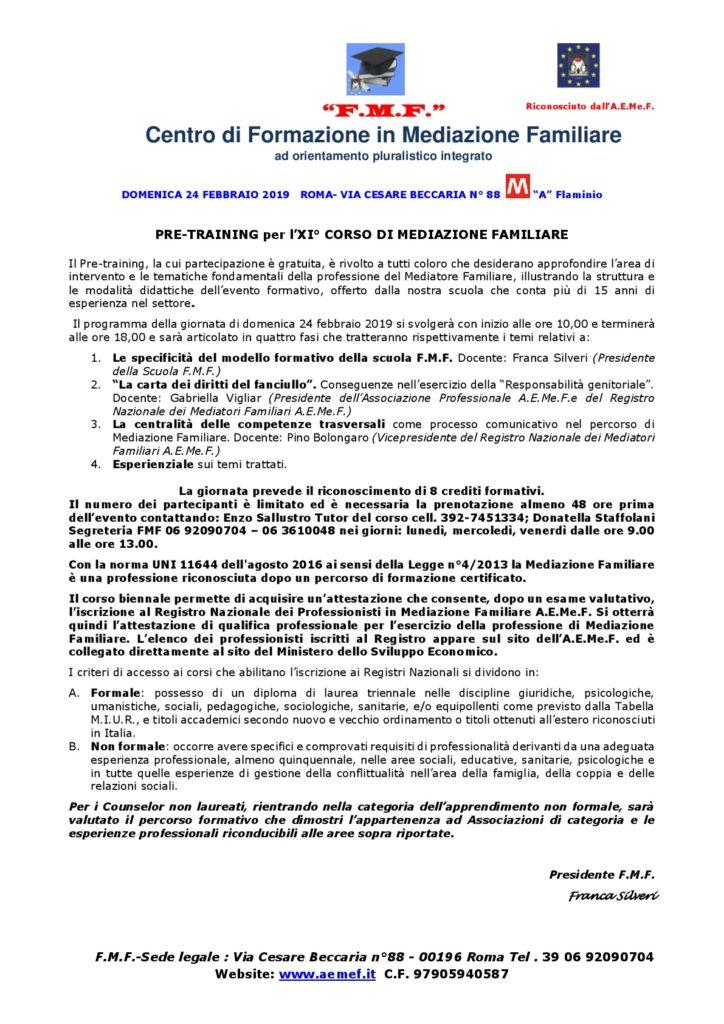 Roma 24 febbraio 2019 – PRE-TRAINING per l'XI° CORSO DI MEDIAZIONE FAMILIARE – F.M.F. Centro di Formazione in Mediazione Familiare