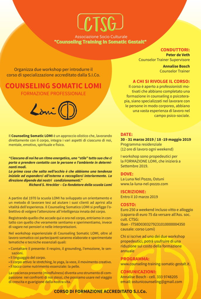 "OSTUNI (BR) 30-31 marzo / 18-19 maggio 2019 – Workshop ""COUNSELING SOMATIC LOMI"" – CTSG Counseling Training in Somatic Gestalt"