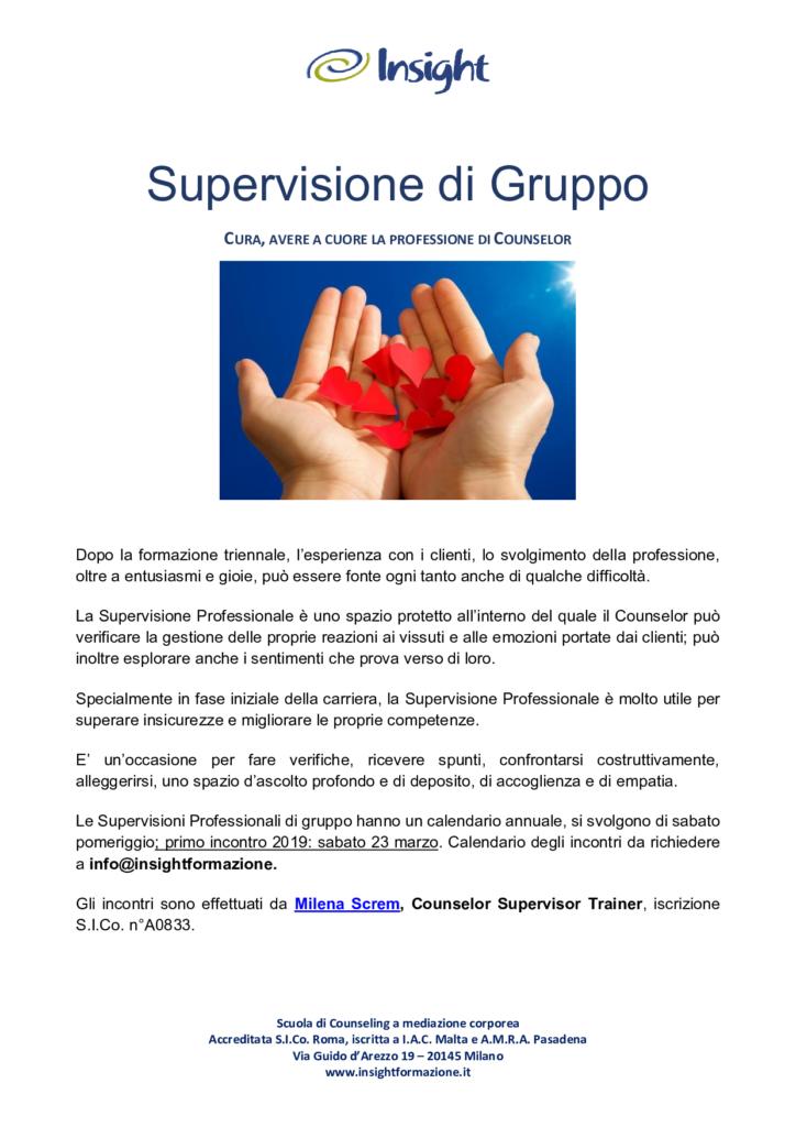 """MILANO (MI) Dal 23 marzo 2019 – """"Supervisione di Gruppo""""  Incontri di Supervisione Professionale – Insight Scuola di Counseling a Mediazione Corporea"""