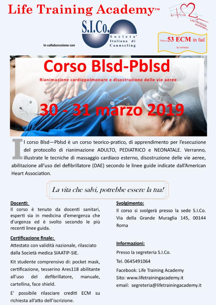 """ROMA (Rm)  30 e 31 marzo 2019 – Corso """" Blsd—Pblsd """" – Apprendimento per l'esecuzione del protocollo di rianimazione – Life Training Academy"""