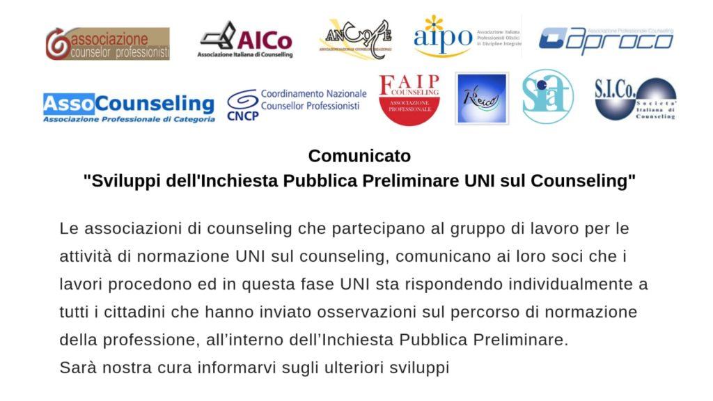 """IMPORTANTE Comunicato del 12 Aprile 2019 – """"Sviluppi dell'Inchiesta Pubblica Preliminare UNI sul Counseling"""""""