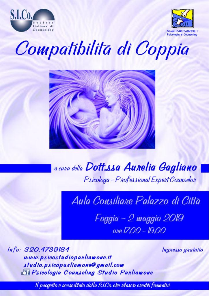 """FOGGIA (FG)  02 Maggio 2019 – """" COMPATIBILITA' DI COPPIA """" – Corso di Aggiornamento a cura della Dr.ssa Aurelia Gagliano"""