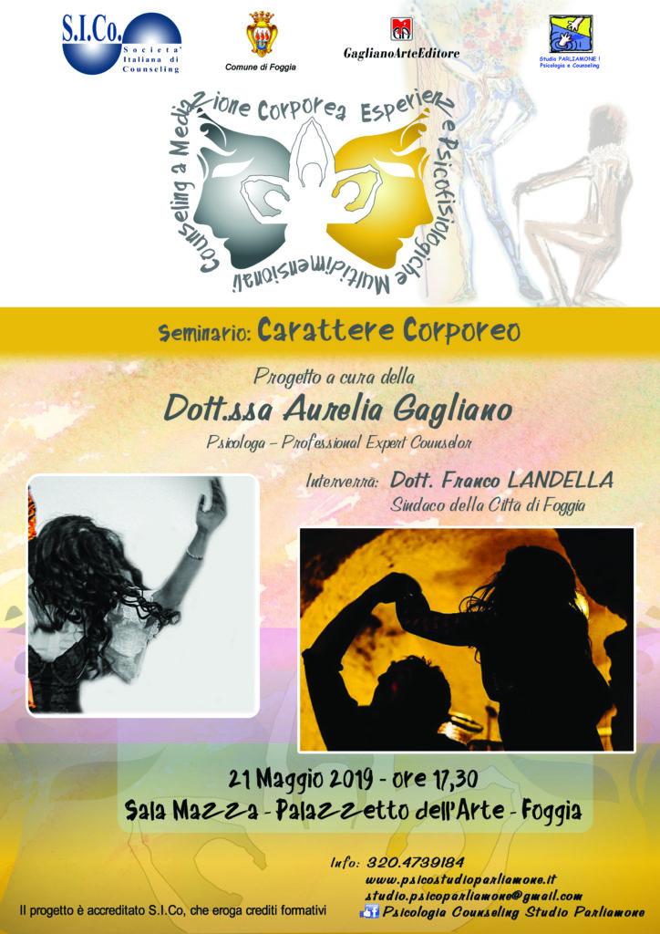 """FOGGIA (FG) – 21 Maggio 2019 – """" CARATTERE CORPOREO """" – Seminario a cura della Dr.ssa Aurelia Gagliano"""