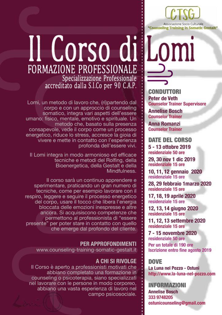"""OSTUNI (BR) Dal 05 ottobre 2019 – """"CORSO DI FORMAZIONE PROFESSIONALE LOMI"""" – C.T.S.G. – Counseling Training in Somatic Gestalt"""