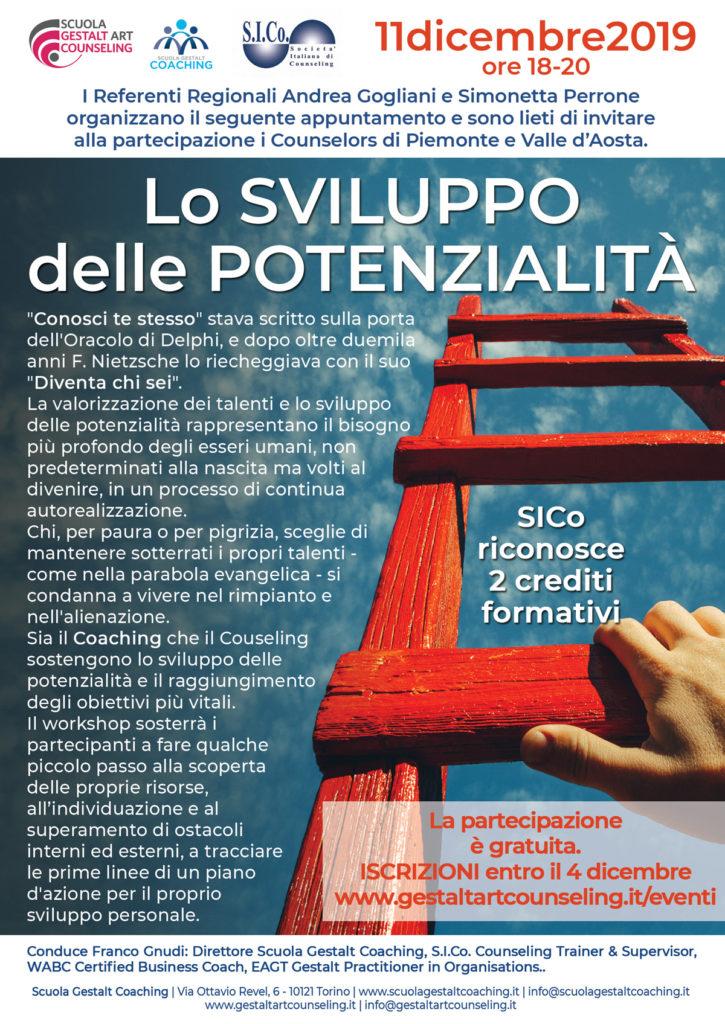 TORINO (TO)  11 dicembre 2019 – Lo SVILUPPO delle POTENZIALITA' – Scuola Gestalt Art Counseling
