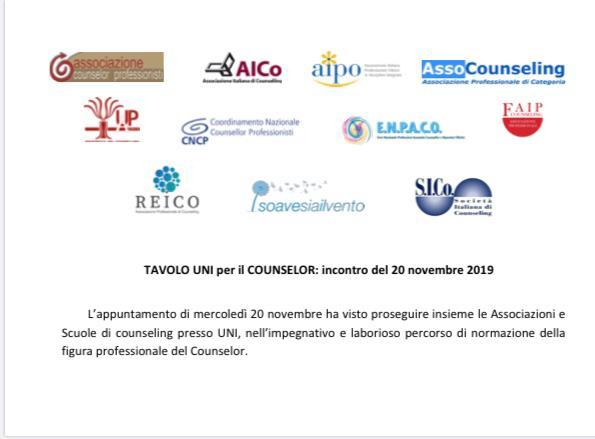 TAVOLO UNI per il COUNSELOR: incontro del 20 novembre 2019