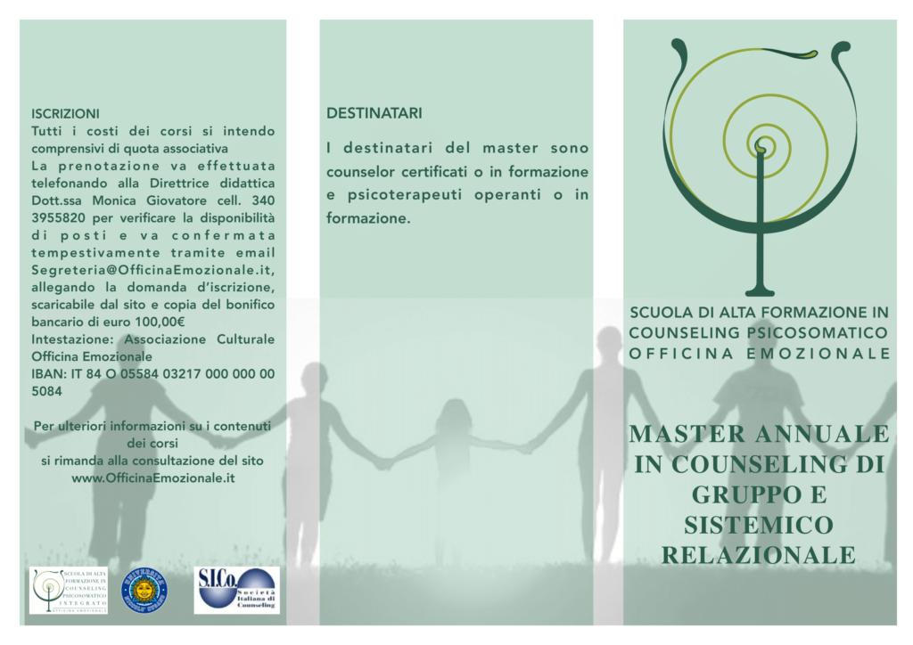 ROMA (RM) Dal 01 febbraio 2020 – MASTER ANNUALE IN COUNSELING DI GRUPPO E SISTEMICO RELAZIONALE – Scuola di Alta Formazione in Counseling Psicosomatico OFFICINA EMOZIONALE