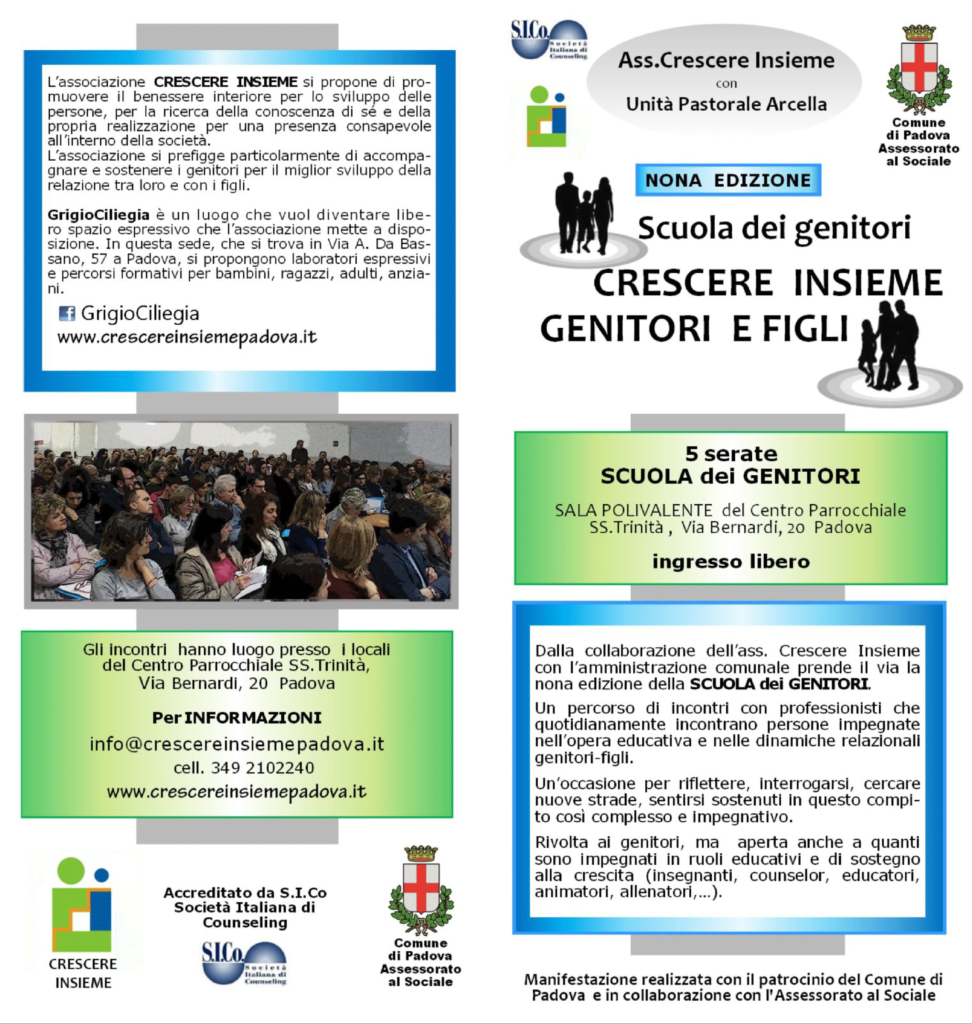"""PADOVA (PD) dal 06 febbraio 2020 – Scuola dei genitori """"CRESCERE INSIEME GENITORI E FIGLI"""" – Nona edizione"""