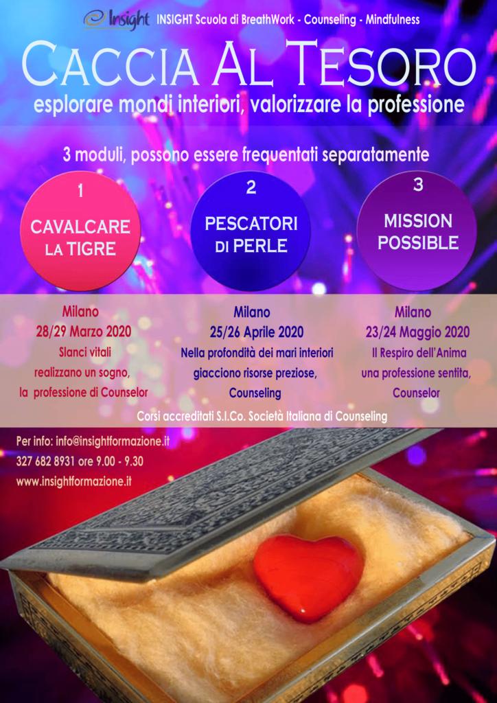 """MILANO (MI) dal 28 marzo 2020 – """"CACCIA AL TESORO"""" esplorare mondi interiori, valorizzare la professione – Corsi di Aggiornamento Professionale Insight Scuola di Breathwork Counseling"""