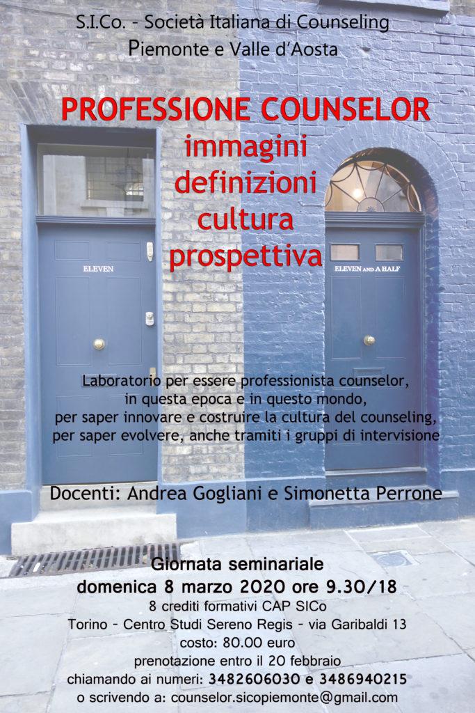 """TORINO (TO) – 08 marzo 2020 – """" PROFESSIONE COUNSELOR """" – S.I.Co. Società Italiana di Counseling – Piemonte e Valle d'Aosta"""