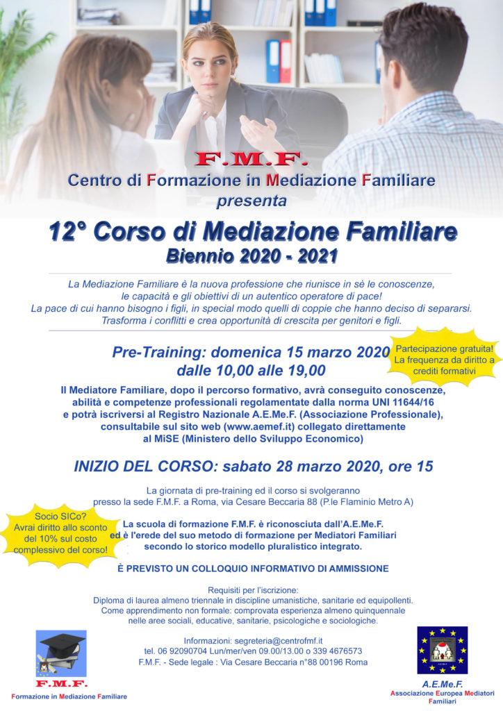 ROMA – Dal 28 marzo 2020 – 12° Corso di Mediazione Familiare – F.M.F. Centro di Formazione in Mediazione Familiare