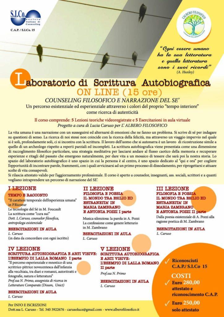 COUNSELING FILOSOFICO E NARRAZIONE DEL SE – Laboratorio di Scrittura Autobiografica – Progetto a cura di Lucia Caruso per l'ALBERO FILOSOFICO